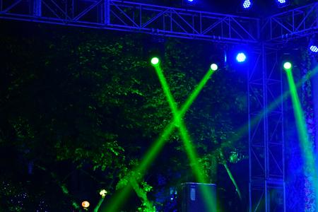 Stage Spotlight Beams against dark black