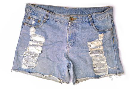 Blue denim shorts on white background.
