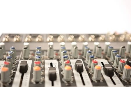 close-up of modern sound mixer in studio Stock Photo