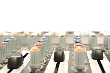 close-up of modern sound mixer in studio