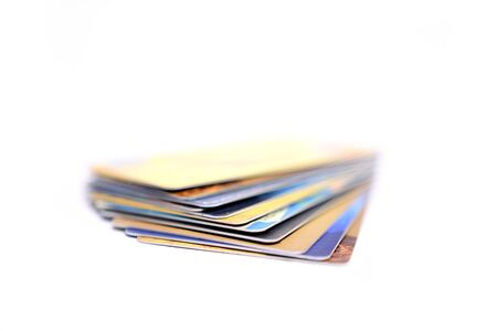Credit cards on isolated white background Stock Photo