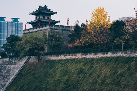 Ancient city wall tower in Xian Editorial