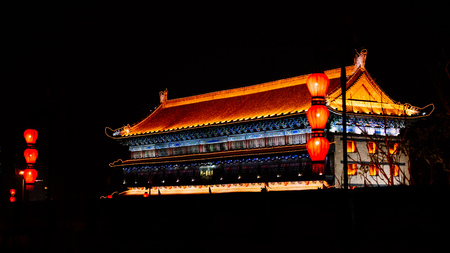 The red lantern tower of the ancient city wall of Xian