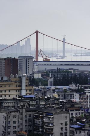 Suspension bridge and building