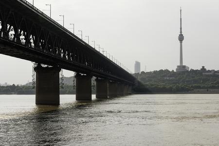 Yangtze River Bridge and Kameyama TV Tower Editorial