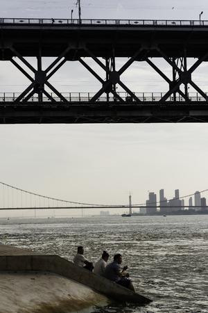 People under the Yangtze River Bridge