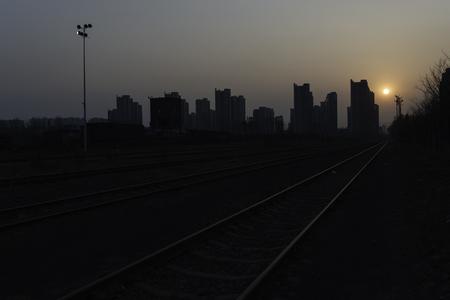 Sunset on the railway