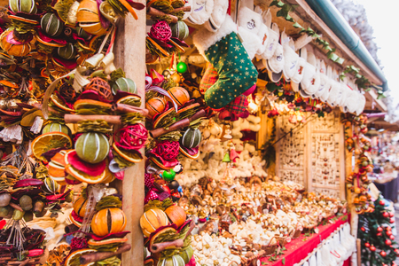 New Year and Christmas fair. Multicolored dried fruit, spices, scenting decorations. Budapest, Hungary