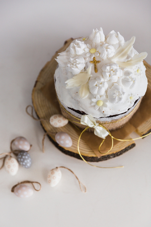 Easter Cakes decorated with white merengue - Traditional Kulich, Paska Easter Bread
