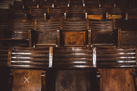Rows of wooden grandstand empty seats of sport center Gerevich Aladar Nemzeti in Budapest