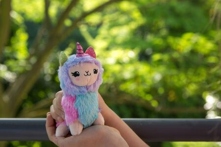 Colored plush llama unicorn in hands little girl with greens on background Stock fotó