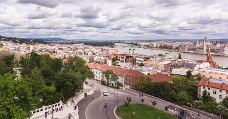 Panoramic view from Fishermans Bastion in Budapest city, Hungary Reklamní fotografie