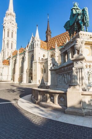 Catholic Matthias Church and Statue of Saint Stephen on Fishermans Bastion in Budapest, Hungary
