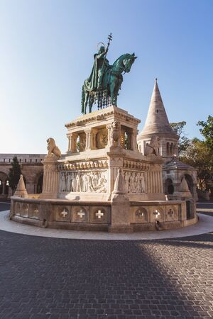 Statue of Saint Stephen on Fishermans Bastion in Budapest, Hungary 版權商用圖片