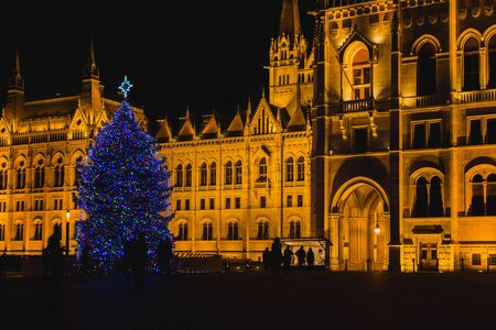 Christmas Tree In Front Off Parliament Building, At Kossuth Square, Budapest, Hungary