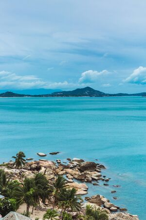 View to the ocean with cloudy sky from view point in Ko Samui, Thailand Фото со стока - 134487132