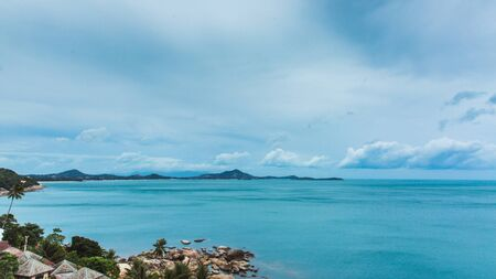 View to the ocean with cloudy sky from view point in Ko Samui, Thailand Фото со стока