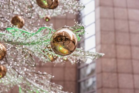 Christmas tree and decorations close-up on one of the fashion streets in Budapest, Hungary. 版權商用圖片