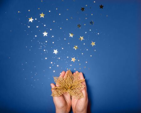 Female hands holding the golden decorative flower on blue background with gold stars sparkles. Color 2020