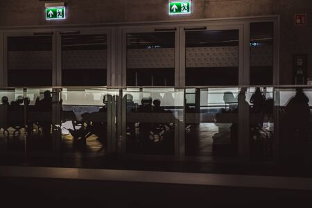 Airport waiting lounge in Budapest, Hungary