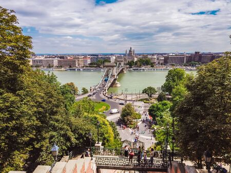 Chain bridge on Danube river in Budapest city. Hungary. Urban landscape panorama with old buildings