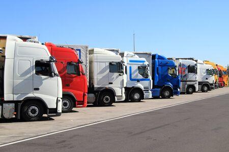 Trucks on a parking