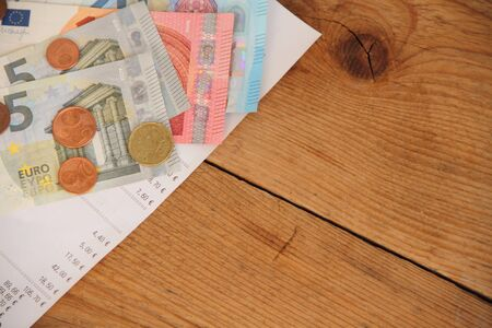 An invoice with an empty cup