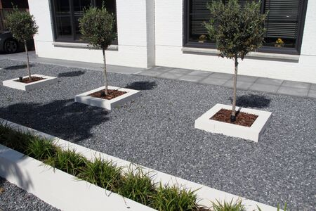 A modern front yard with stones and plants