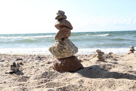 Stone pyramid on the beach