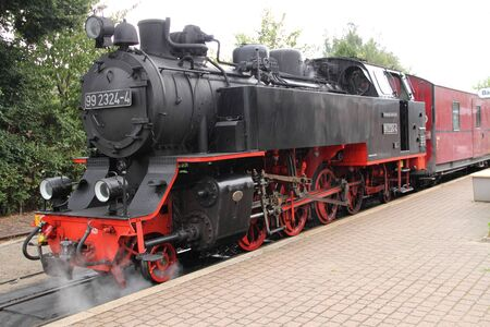 Old steam locomotive at the train station