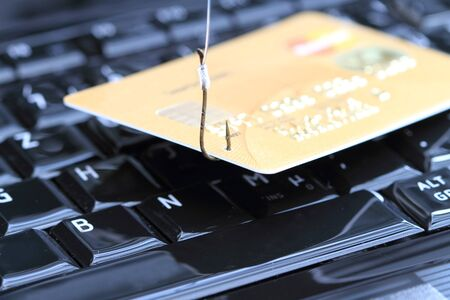 A credit card on the fishing hook on a laptop
