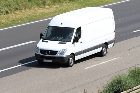 A white van on the highway
