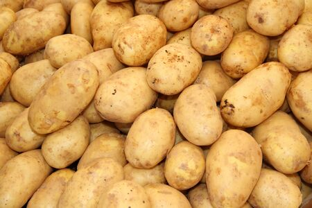 Many potatoes in the supermarket