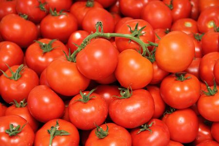 Red tomatoes in the market