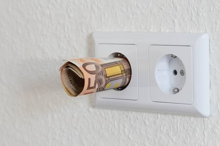 A double socket with banknotes
