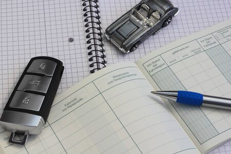 """An empty logbook with the words """"destination, departure, date, journey time, itinerary, time"""""""