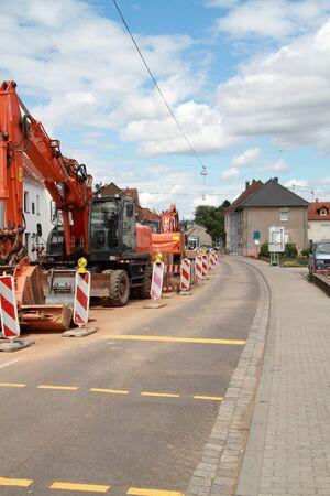 Construction work on a street Stockfoto