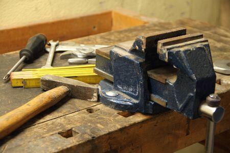 Tool on a workbench Archivio Fotografico