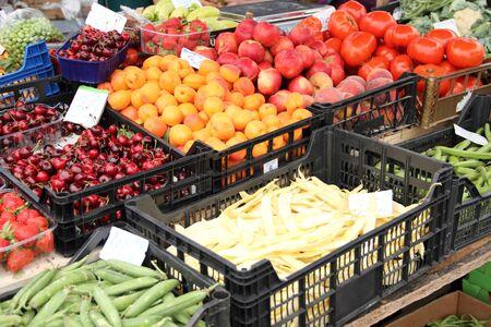 Étal de fruits et légumes Banque d'images