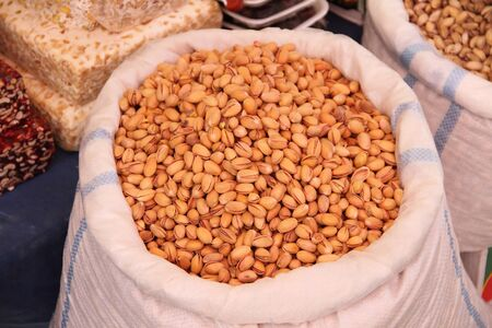 A bag of pistachios in the market