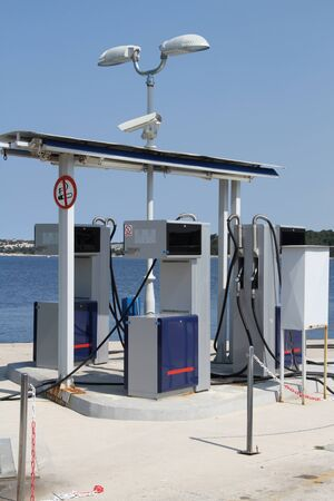 A gas station for boats at the harbor in Croatia Stock Photo