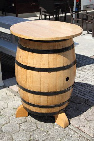 Wine barrel with bar stool