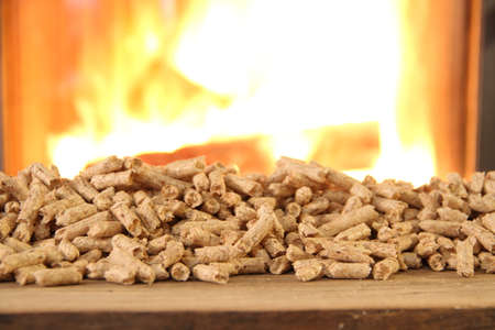 a wood stove with pellets, wood and a toy house Stockfoto
