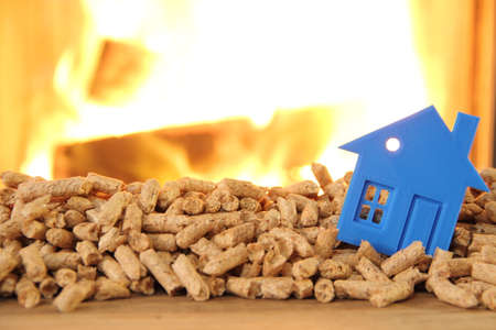 Wood stove with pellets with a toy house