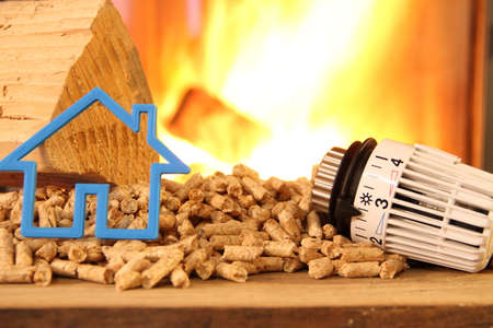 Wood stove with pellets with toy house and a radiator thermostat against fire Reklamní fotografie