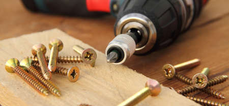 cordless screwdriver on a workbench