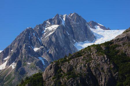 Alaksa Alpine Summer Landscape with glaciers in Kenai Fjords National Park