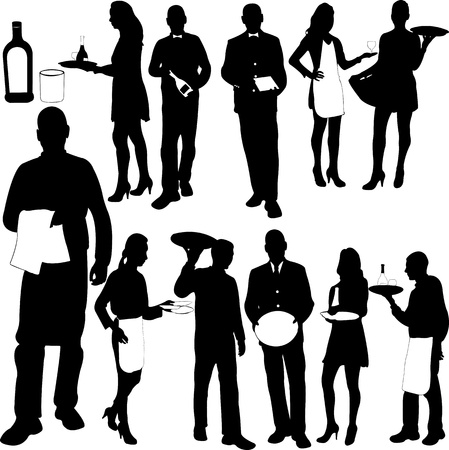 waitress: waiters and waitresses silhouette collection - vector