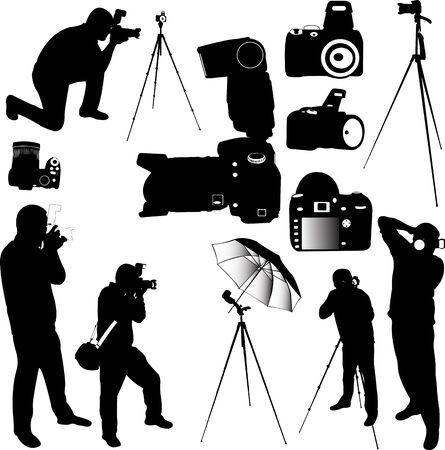 fotografen silhouetten - vector Stock Illustratie