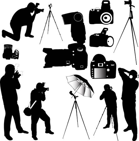 tripods: photographers silhouettes - vector